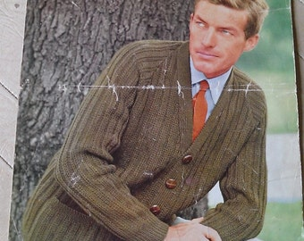 "Vintage 1960s Men's Double Knitting 'Wendy' Cardigan Pattern- 40""-44"" Chest"