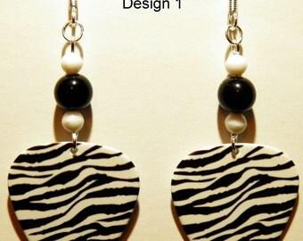 ZEBRA Stripe Animal Print Guitar Pick Beaded Earrings - Handmade in USA