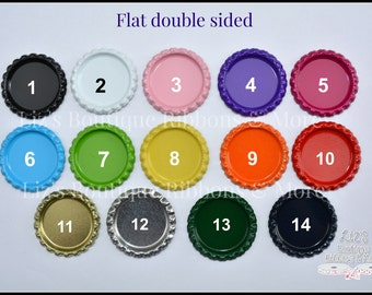 Double sided flat bottlecaps, metal caps, bci, double sided, hair bow supply, craft supply