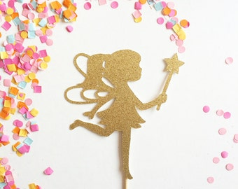 Fairy Cake Topper - Customize to any colour glitter (Fairie Party, Fairy Princess, Fairy Birthday, Fairy Theme, Fairy with Wand)