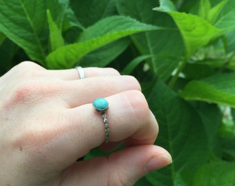 Large Turquoise Stacking Ring, Sterling Silver Turquoise Ring Size 5.5-6 {READY TO SHIP}