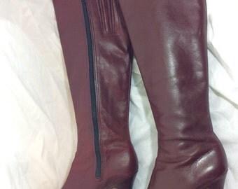 "Vintage 1970's Air Step tall oxblood burgundy boots, maroon, mod, 3 "" heel, SZ 7.5, zip up, go go"