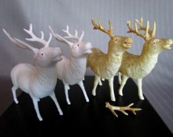 Vintage Christmas Reindeer Celluloid Plastic Set of 4 Reindeer 2 White Plastic Deer 2 Ivory Glitter Reindeer Retro Holiday Santa Stag Deer