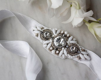 Bead Embroidered Bridal Headband, White and Silver Headband, Wedding Headpiece