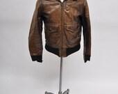 vintage leather jacket 1960s flight bomber jacket motorcycle 38 - 40