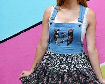 90s Vintage Patchwork Denim Pinafore Dress, Hippy Dress, Festival Dress.