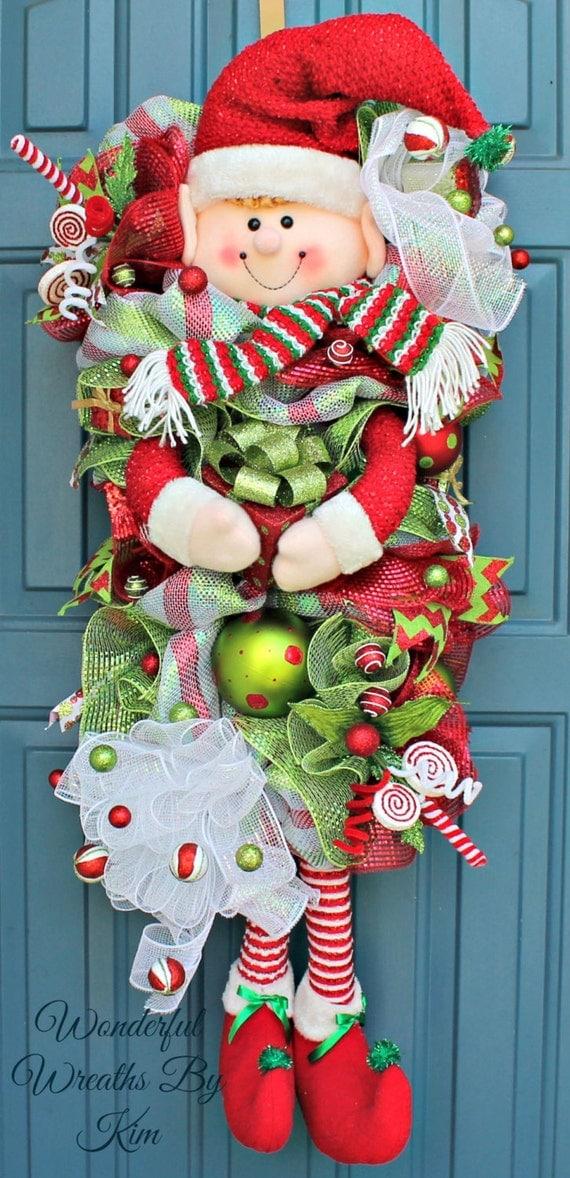 Christmas Deco Mesh Wreath Elf Wreath Elf By