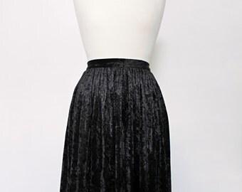 Black Velvet Midi Skirt by Solange Maritte