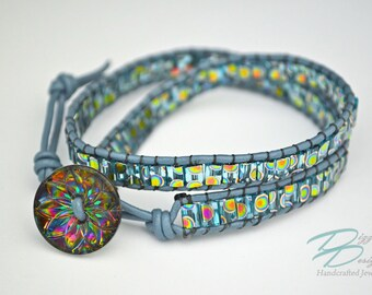 Blue Leather Rainbow  Starburst Wrap Bracelet