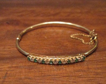 14k Emerald Diamond Bangle Bracelet