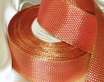 1y FRENCH WIRED RIBBON Orange Tangerine Gold Metallic Metal Shimmer Vintage Trim  Lurex Art Deco Millinery Craft Ribbonwork