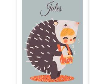 customed art print for kids  -  Adorable Costumed - The Hedgehog