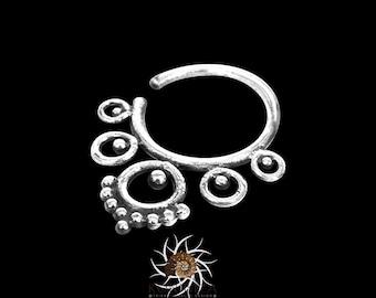 Silver Septum Ring - Septum Jewelry - Septum Piercing - 18G Septum Ring - Indian Nose Ring - Indian Septum Ring - Tribal Septum Ring (OS16)