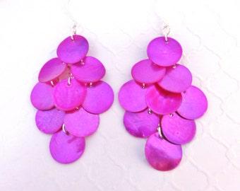 Pink Mermaid Scale Earrings - Long Shell Earrings, Pink Mussel Shell Earrings, Big Earrings, Beach Wedding Jewelry, Pink Chandelier Earrings