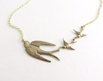 3 Birds Necklace - Gold Bird Necklace, Sparrow Necklace, Bird Jewelry, Gold Necklace, Gift For Mom, Gift For Mother of 2, Mother's Necklace