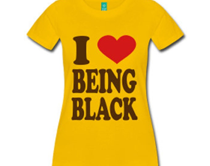 I Love Being Black Women's Fitted T-Shirt - Yellow