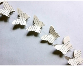 3D Paper Butterfly Garland / Paper Butterfly Garland / Rustic Wedding Garland / Baby Shower Garland / Butterfly Banner / Book Paper Banner