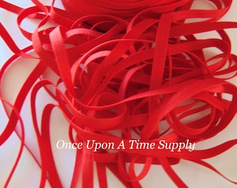 """Red  1/4"""" Skinny Elastic for Baby Headbands 5 Yards of Quarter Inch  DIY Craft Embellishement Elastic By The Yard - Simple Christmas Solid"""