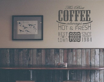 Wall Decal Vintage Cafe Retro Style Kitchen Stickers Dining