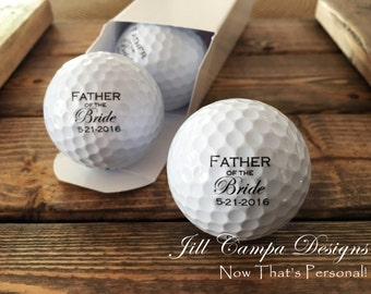 FATHER of the BRIDE, custom golf balls- gift for Dad - Wedding - Bride's Father, Father of the Bride gift, personalized golf balls, set of 3