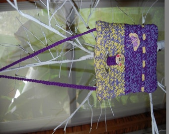 Purple and Yellow Crocheted Butterfly Purse