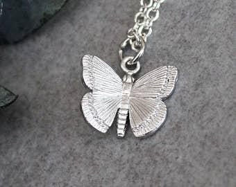 Silver Butterfly Necklace, Butterfly Necklace, Butterfly Pendant, Butterfly Charm, Dainty Butterfly Necklace, Minimalist Necklace