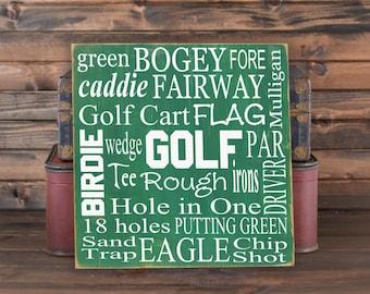 Golf Collage Vinyl Wooden Subway Art Sign 12 Part 58