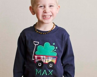 Boy's St Patrick's Day Shirt with Shamrock Wagon and Name - M39