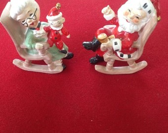 Rare LEFTON SANTA MRS Claus In Rocking Chairs figurines