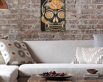 "Sugar Skull Wall Art on Distressed Solid Wood - 11"" x 17"" - Day of the Dead, Dia de los Muertos, Vintage style"