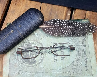 Vintage Wire Rim Glasses With Case, Reading Glasses, Spectacle Frames