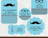 First Birthday Themes for Boys - Little Man Baby Shower Decorations - Mustache Baby Shower Decorations - PRINTED Stickers Labels