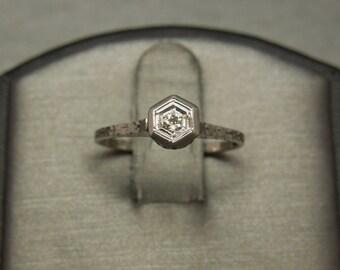 Antique Belle Epoque Estate C1910 18K White Gold Fleur de Lis Filigree Engraved 0.03ct J VS2 European Diamond Petite Dainty Engagement Ring