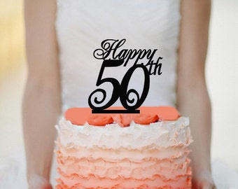 Happy 50th Cake Topper -  Acrylic Cake Topper