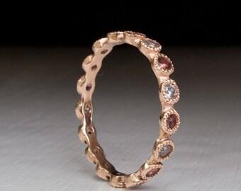 Tourmaline Gold Ring- eternity band - stacking ring - pink tourmaline - gemstone - White Crystal - Rose Gold - Yellow Gold