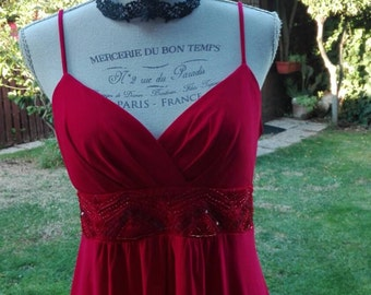 Shabby chic vintage red dress woman dresses Holiday woman