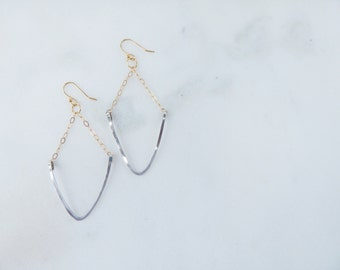 Silver and Gold Triangle Earrings / Mixed Metal Earrings/  Sterling Silver Earrings / 14K Gold Earrings / Hand Shaped Earrings