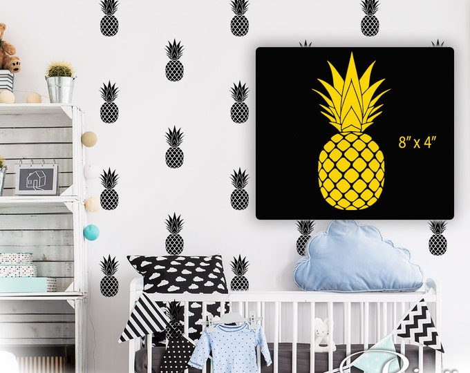 PINEAPPLE WALL DECALS Pattern Wall art vinyl stickers  - (pack 0f 20) wallpaper effect modern bedroom decor mural pattern media wall nursery