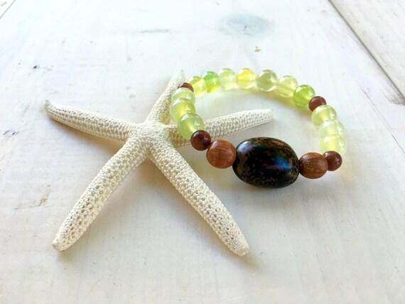 Anipay Seed Bracelet, Mala Inspired Jewelry, Yoga Jewelry, Boho Chic Bracelet, Bohemian Jewelry, Green Agate Gemstone, Stretch Bracelet