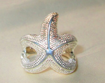 adorable  Sterling Silver STARFISH  ring,  .925 sterling silver