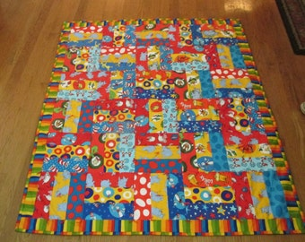 "Crib Quilt - Dr. Seuss - Horton, Cat in the Hat, Lorax + - FREE SHIPPING - 41-1/2"" x 49"""