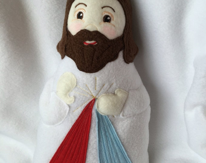 Divine Mercy Doll Handmade Soft Saint Doll, Jesus Doll,  Soft and Perfect for little ones to Snuggle with.