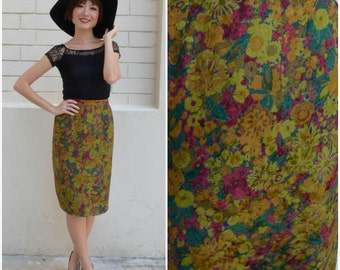1960 Vintage Skirt/ Monet Pencil Skirt/ Medium Skirt/ Japanese Vintage/ Floral Skirt/ Pencil Skirt/ Midi Skirt/ Office Skirt/ Silk Skirt