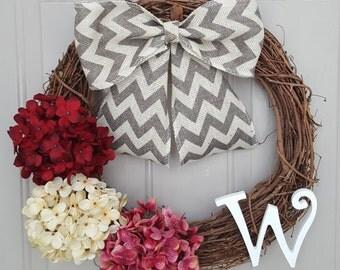 Valentine Wreath, Year Round Wreath, Summer Wreath, Spring Wreath, Monogrammed Wreath
