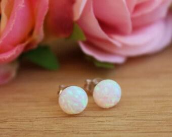 Opal stud earrings, 7MM round dot white opal 925 silver sterling earrings, simple opal jewelry, gifts for her, jewellery under 20SD