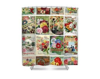 Flower Bathroom Decor, Shower Curtain, Seed Catalog, Garden Decor, Pansies, Roses, Tulips, Lilies,Sweet Peas,Gift for Gardener,Vintage Decor