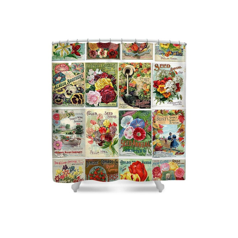 Flower bathroom decor shower curtain seed catalog garden for Bathroom decor catalogs