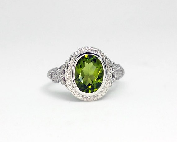 2 ct peridot ring in sterling silver filigree unique