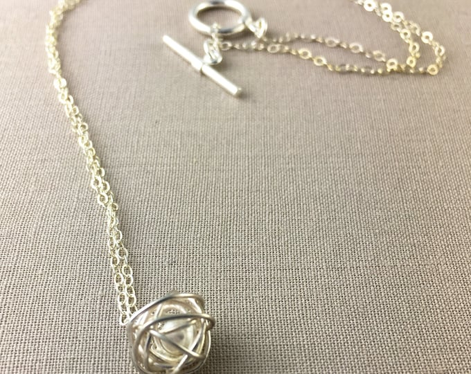 Silver Nest Necklace // Silver wire ball necklace, silver pearl necklace, sterling silver necklace, jewelry under 40, bridesmaid gift