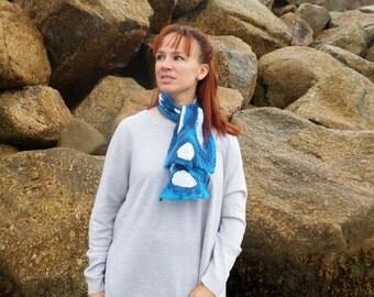 Atlantic Collection :Blue  Nuno felted White Habotai Silk Necktie